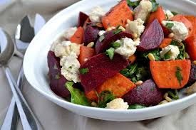 Creamy Sweet Potato Salad with Feta and Beetroot